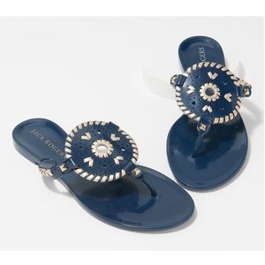 NEW Jack Rogers Jelly Thong Sandal Midnight Gold 7